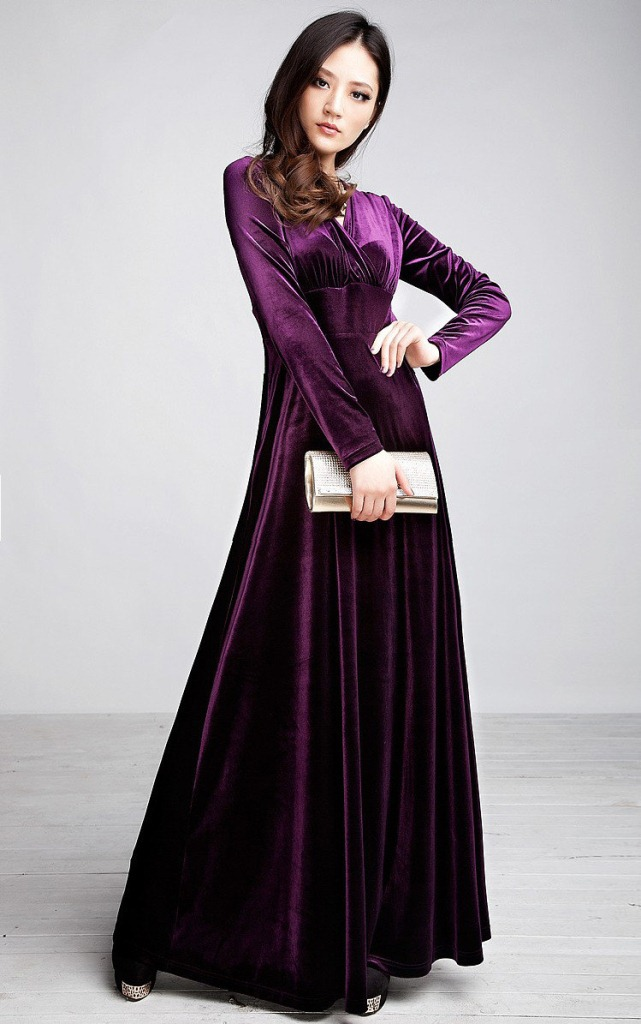 Autumn Winter Dresses Women Elegant Sexy Long Sleeve V Neck Velvet