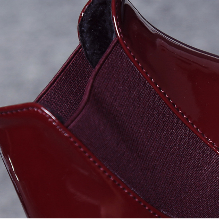 New Fashion Women Boots Black WineRed Women Ankle Boots Pointed Toe Slip On Female Shoes Classic Women Shoes She ERA in Ankle Boots from Shoes