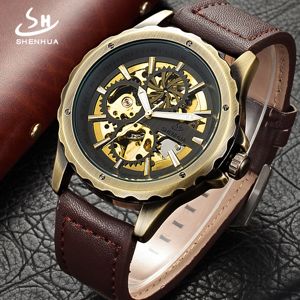 Shenhua 2018 New Arrival Steampunk Mechanical Watches Skeleton Automatic Antique Bronze Leather Self Wind Wrist Watch Colck Men shenhua brand black dial skeleton mechanical watch stainless steel strap male fashion clock automatic self wind wrist watches