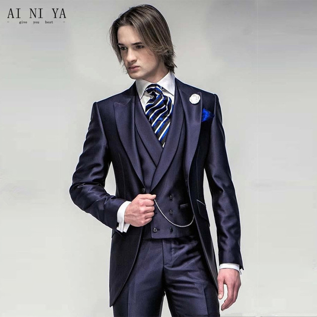 Newest arrived groom tuxedo suits wedding suits mens three piece ...