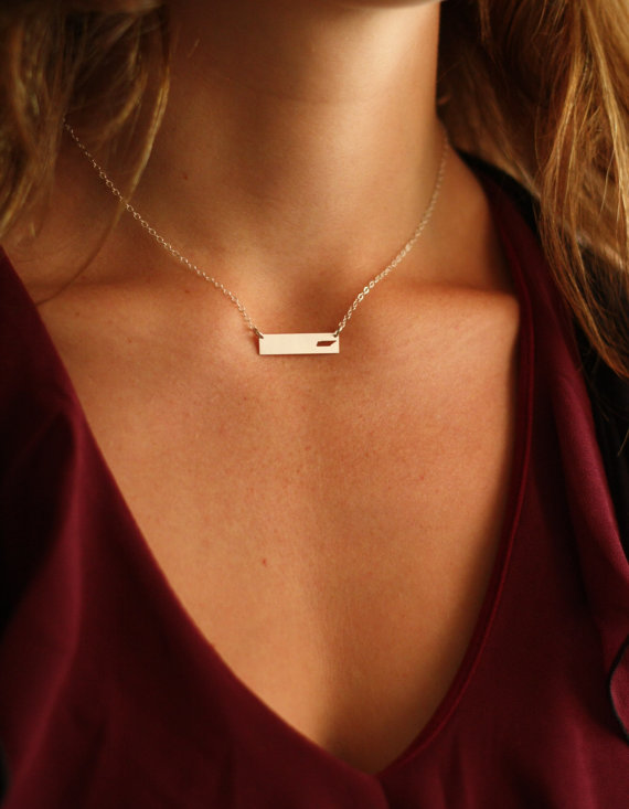 SALE Tennessee Necklace Bar Necklace Nashville State of Tennesse Map Necklace Horizontal Bar Layering