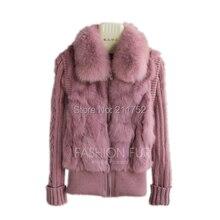 Фирменная новинка натуральный мех кролика куртка с натуральным лисьим мехом воротник с натуральным кроличьим мехом пальто в наличии