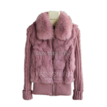 Rabbit-Fur-Jacket Coat Real-Fox-Fur-Collar Natural Brand-New with In-Stock