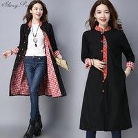 2018 Spring autumn chinese style women traditional dress cotton satin cheongsam long qipao tops V939