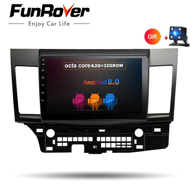 Funrover 8 cores Android8.0 2 DIN Car DVD GPS for MITSUBISHI LANCER 2007-2016 headunit GPS Radio car multimedia player stereo 2G