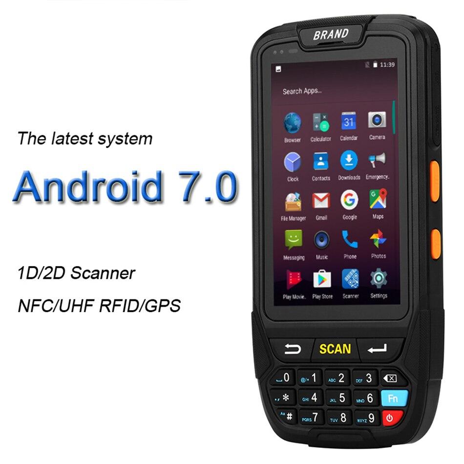 КПК Android 7,0 мобильный 1D 2D QR сканер штрих-кодов ручной POS терминал поддержка gps GPRS Wifi Bluetooth 4G для ПК камера КПК