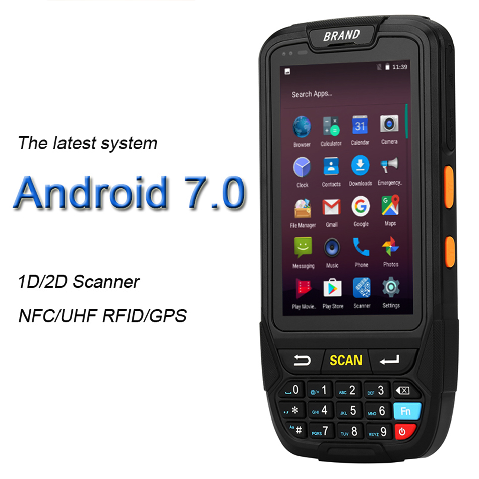 PDA Android 7.0 Mobile 1D 2D QR Barcode Scanner Handheld POS Terminal Support GPS GPRS Wifi Bluetooth 4G For Pc Camera PDA