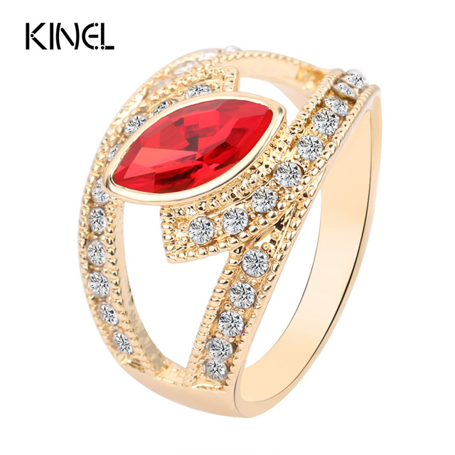 Hot 2017 Top Fashion Red Crystal Ring Gold Color Punk Rock Crystal Rings For Wom