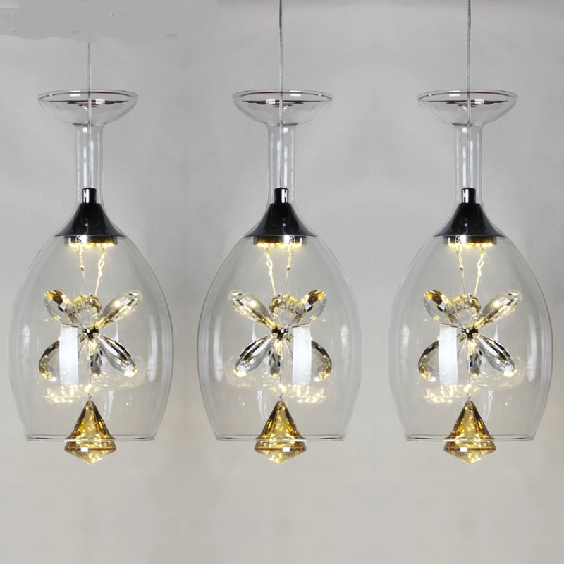 Pendant Lights NEW three head single head lamps 2017Creative personality led glass crystal  lamp bar restaurant dining room  ZCL a1 led pendant lights restaurant lamp crystal glass lamps modern minimalist new creative art dining room bar pendant lamps