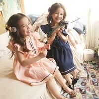 Hurave Summer 2017 New Embroidery Fly Sleeve Girls Dress Girl Sleeveless Girls Infant Clothing