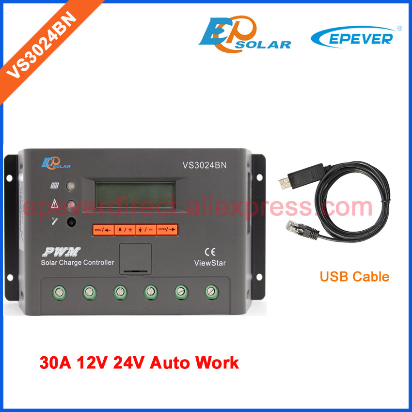 30A Solar charge controller EPEVER with USB cable EPEVER VS3024BN 12v 24v auto work EPSolar 30amp 30a 12v 24v auto work solar battery charging controller epever tracer3210cn with mt50 remote meter and usb cable communicate