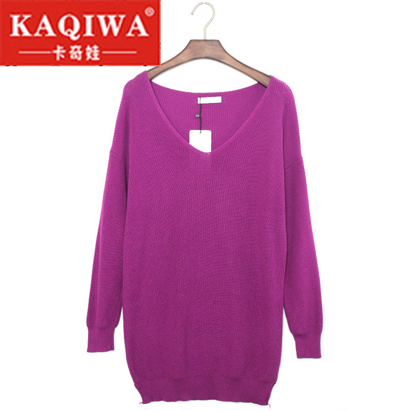 Red Gray Purple V Neck Drop Shoulder Sweaters for Women <font><b>2018</b></font> <font><b>Autumn</b></font> <font><b>Sexy</b></font> Pullovers Long Sleeve Oversized Loose Sweater Dress image