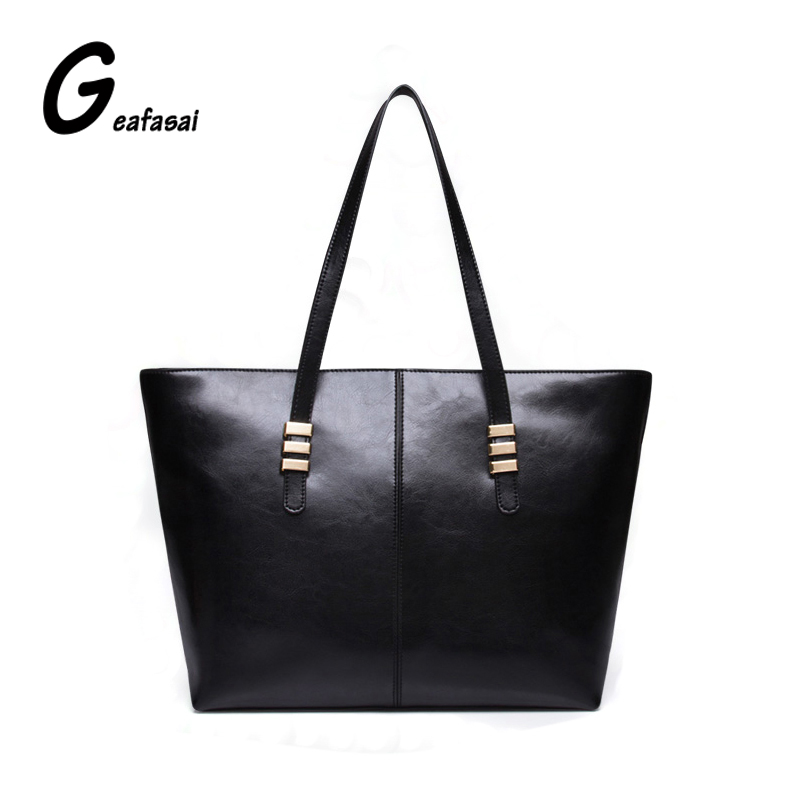 COUPON good leather hanbags women ladies top handle bags solid black red casual tote simple shoulder bags sewing thread style PU