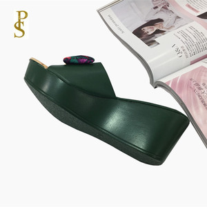 Image 2 - Women wedges slippers Comfortable PU sole high heel for women