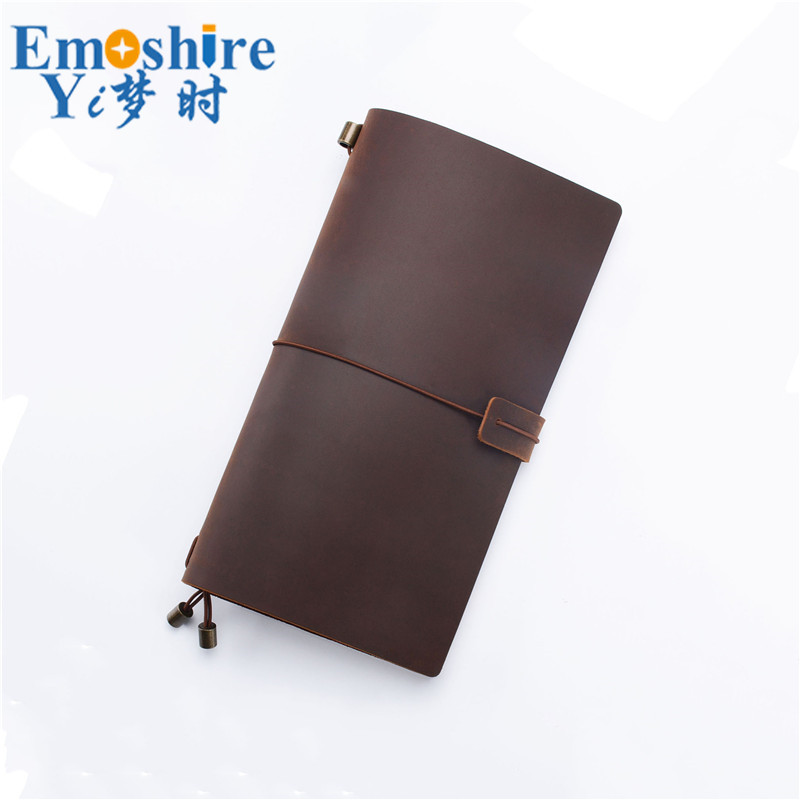 Leather Notebook Top Layer Cowhide Retro Travel Notebook Manual Loose-leaf Notebook Customization for Business Gift Notepad N142 first layer leather travel notepad retro leather notebook loose leaf diary with lock customized logo business gifts n131