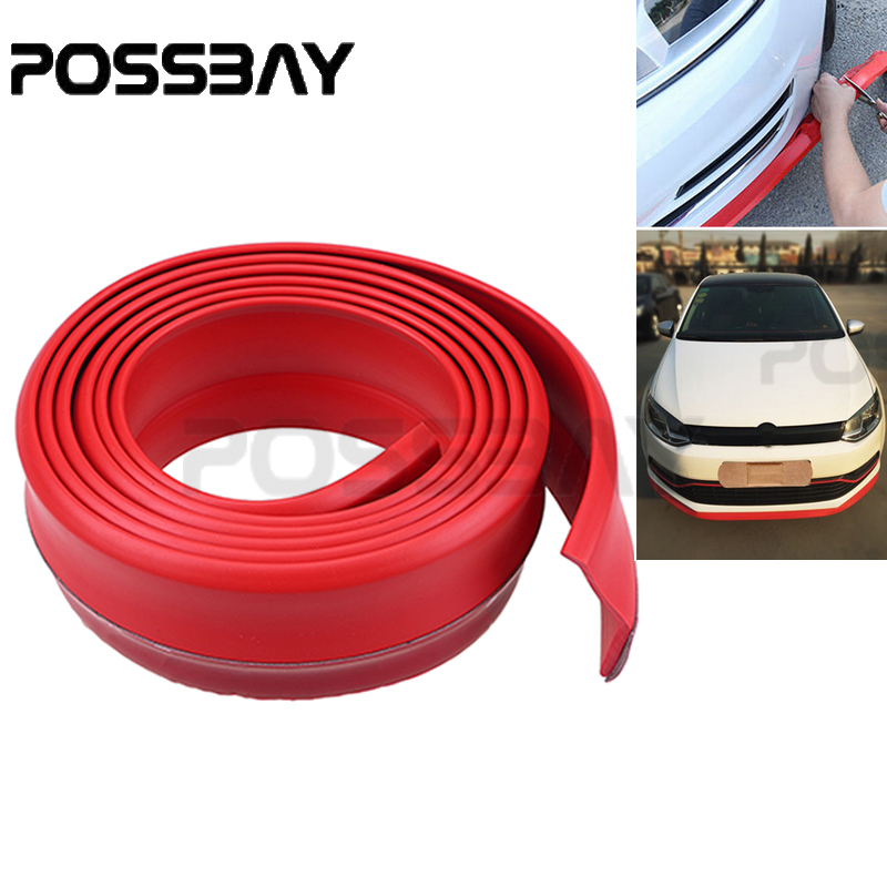 Red 2.5M Car Front Bumper Lip Side Skirts Spoiler Door Protector High Quality Rubber Strip Universal Truck Car Auto Accessories blue high rise floral print front slit midi skirts