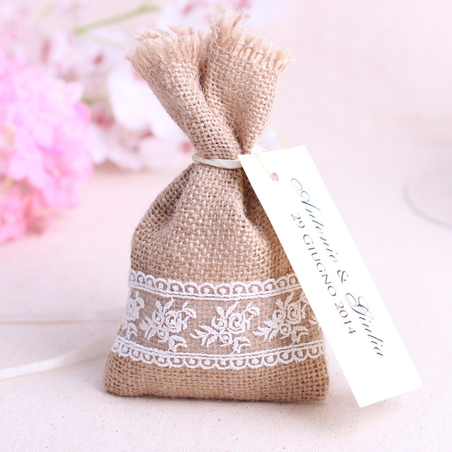 Free Shipping 16x9cm Rustic Small Natural Burlap Lace Favor Bags Jute Hessian Wedding Gift Pouch