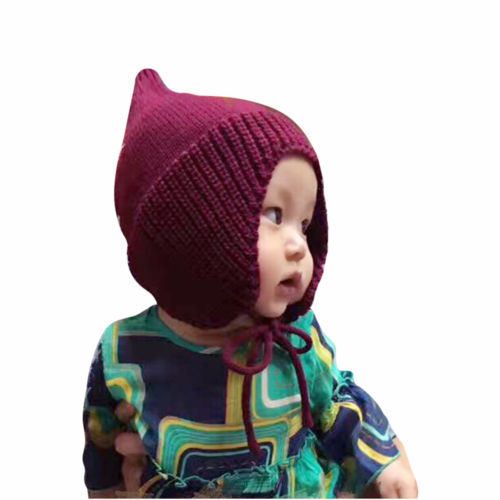 2018 Winter Outdoor Baby Wool Knit Hat Pom Pom Bobble Newborn Winter  Knitted Chin Tie Ear Flaps Toddler Infant Boy Girl Warm Hat dc19092658f