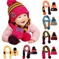 Precioso Nuevo Invierno 5-Star Niños Skullies Gorros Sombrero de La Bufanda Set Muchachas de Los Bebés de Punto para niños Sombreros Gorras