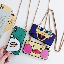 For iphone XS MAX XR X 7 8 6 6s plus case cover cute 3d cartoon duck with shoulder chain soft silicon protective phone bag(China)