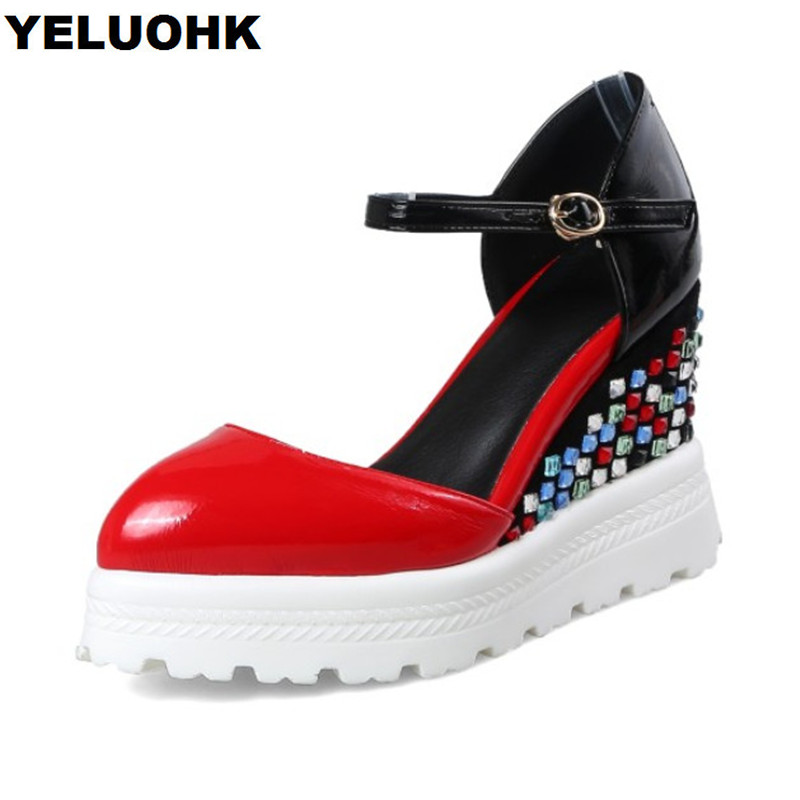 Pointed Toe Patent Leather Shoes Women High Heels Red Platform Shoes Wedge Woman Pumps Casual Female Shoes Spring hee grand sweet patent leather women oxfords shoes for spring pointed toe platform low heels pumps brogue shoes woman xwd6447