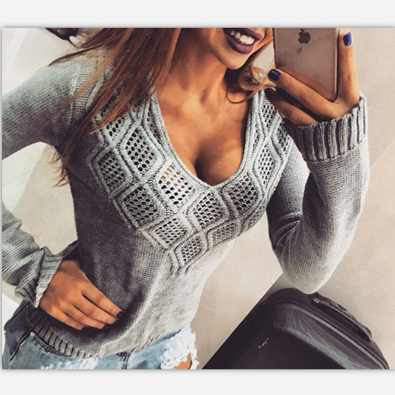 Women V neck pullover sweaters sexy rhombic hollowed out sweater Spring Autumn pure color knitted long