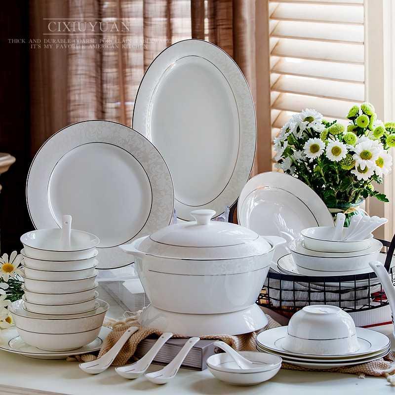 Servies Borden Set.56pcs Set Fine Bone China Dinnerware Sets Ceramic Borden Servies Dinner Plate Set Porcelain Weeding Gift Chafing Dish Serve