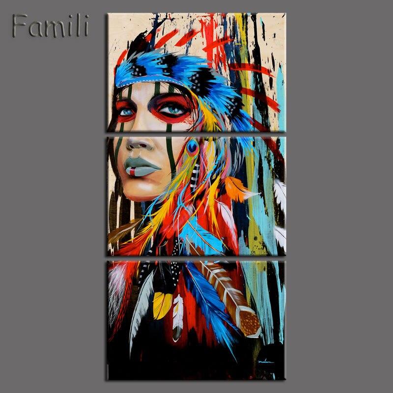 Gerahmte 3 stücke Abstrakter Druck Die Indianer gefiederten home Decor-leinwand-druck Native american mädchen Malerei Wandkunst Bild