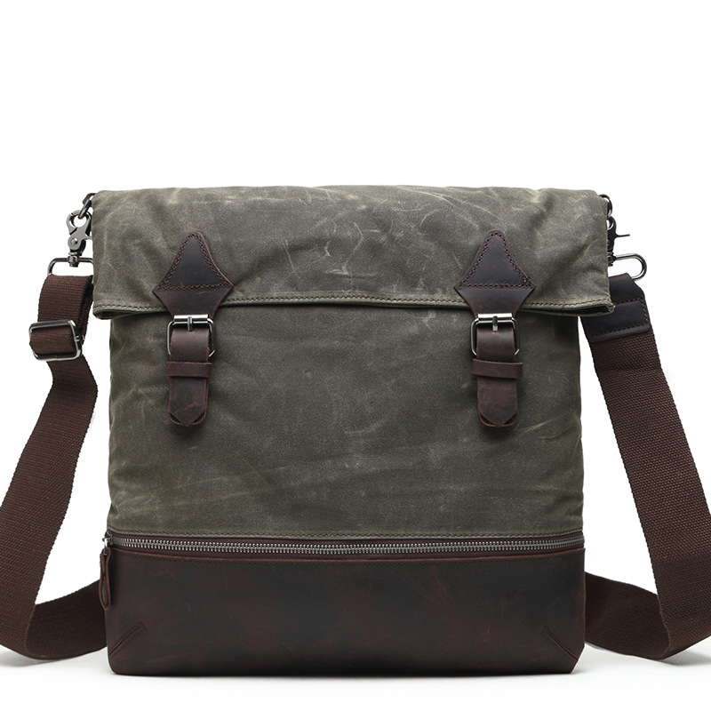 Army Green Canvas Crossbody Bag Military Shoulder Bags Vintage Messenger Bag With Crazy Horese Leather Cool Boy School Bags G054 muzee canvas vintage washed military messenger shoulder bag 560008
