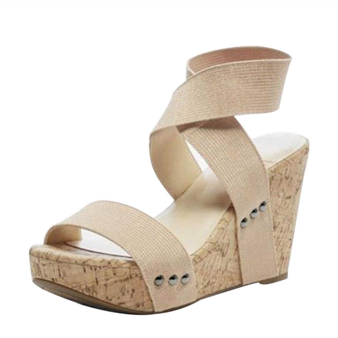 67b18975b0 ... HEFLASHOR Women Sandals Summer Shoes Wedges Elastic Band Sandals Women  Casual Ladies Platform Sandals Womens Shoes ...