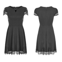 PUNK RAVE Gothic Women's Black Daily Dress Summer Short Sleeve A line Mini Dress Lace Stitching Women Sexy Party Short Dress