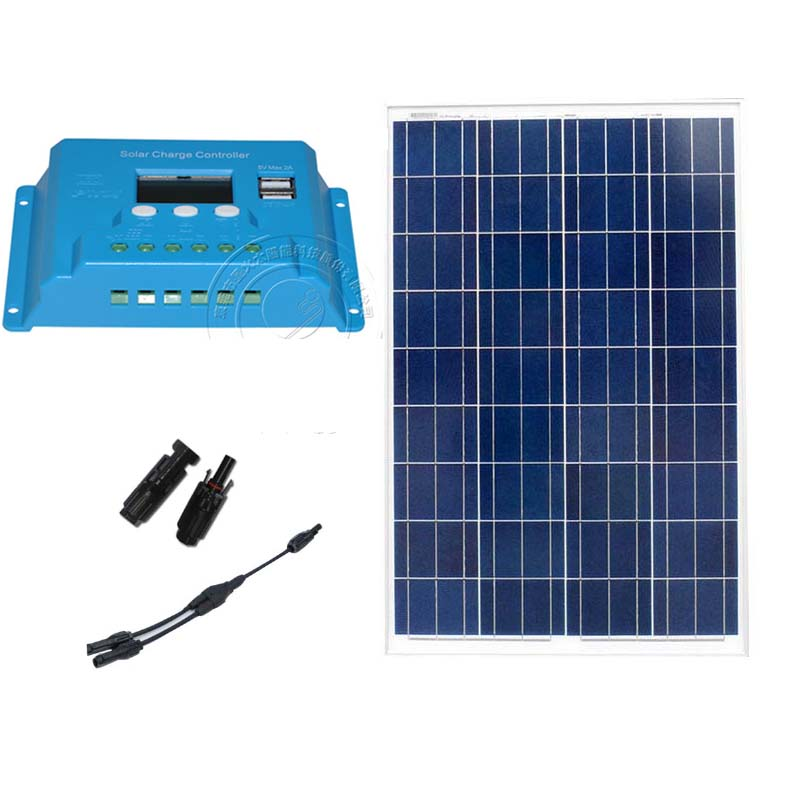 Solar Power System for Home Solar Panel 100W 12V Solar Charge Controller 10A 12V PWM LCD Dual USB 5V MC4 Connector 2 In1 lm 5pcs lot intersil isl95838hrtz isl95838 95838hrtz qfn dual 3 2 pwm controller for imvp 7 vr1 cpus