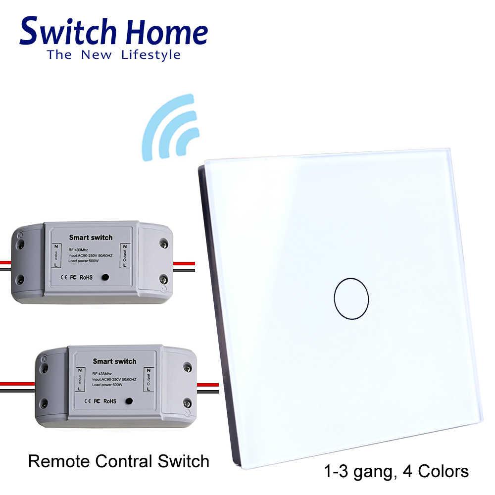 Przełącznik zdalnego sterowania światłem RF, szklany bezprzewodowy włącznik dotykowy na ścianę ue, odbiornik zasilania DC, przełącznik sterownik nadajnika