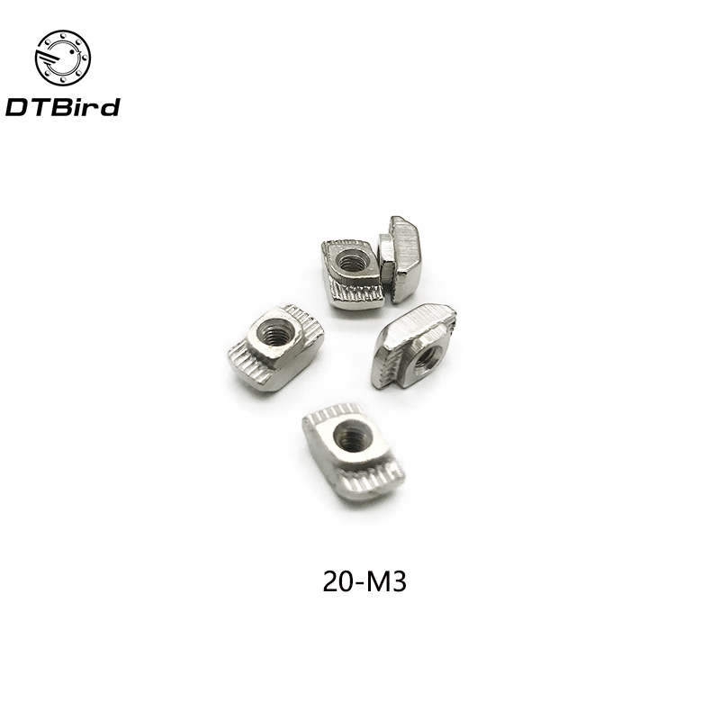 Nickel-Plated Carbon Steel Pack of 10 Nuts with Slot T-Slot M3 Half Round roll in T-nut for 2020 Series Aluminum Extrusion Profile