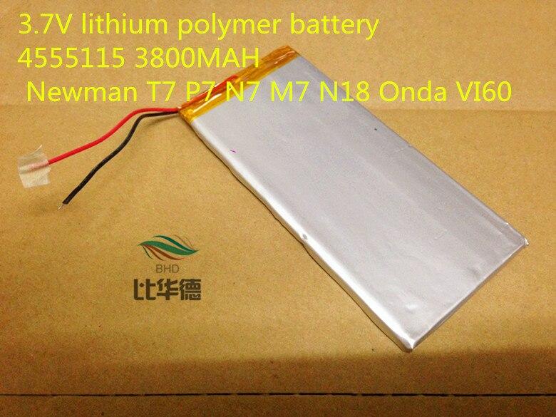 tablet battery 4555115 3.7V 3800MAH T7 P7 N7 M7 N18 VI60 Universal Li-ion battery for tablet pc 7 inch 8 inch 9inch