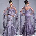 Сексуальный фиолетовый сердечком аппликации русалка вечерние платья с мыса длинная женщины официальный платье Vestidos лонго JED07