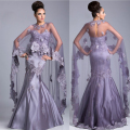 Newest Sexy Purple Sweetheart Appliques Mermaid Evening Dresses With Cape Long Women Formal Dress 2015 Vestidos De Longo JED07