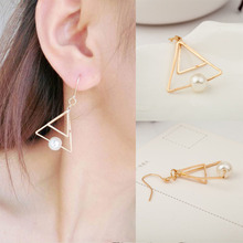 Simple Double Triangle Pearl Drop Earrings For Women Earing Multilayer Geometric Screw Clamps Brincos Jewelry WD196