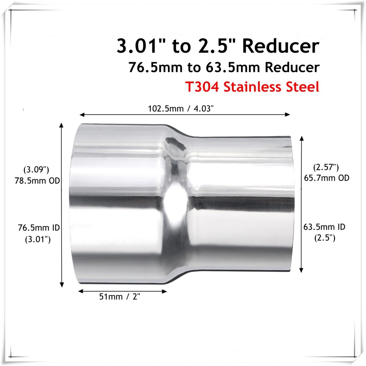 Car Stainless Steel Standard Exhaust Reducer Connector Pipe Tube 76.5mm to 63.5mm