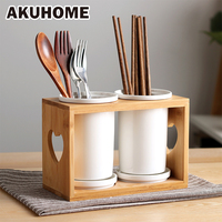Double Barrel Ceramic Drain Chopsticks Holder Simple And Creative Chopstick Holder Japanese style Lovely Spoon Rack AKUHOME