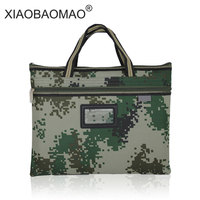 Camouflage Portable A4 document bag student waterproof zipper bags canvas bag multi file office kits filing products