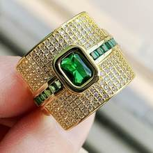 2019 New Arrival Beautiful Rings Vintage Jewelry 925 Sterling Silver&Gold Fill Green 5A CZ Wedding Eternity Female Wedding Ring(China)