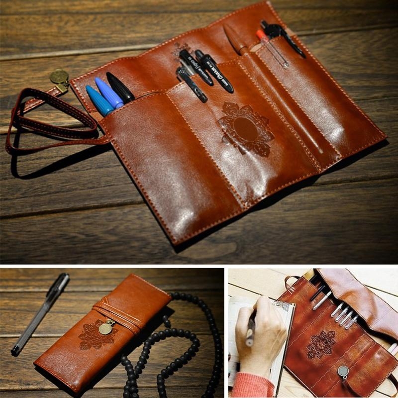 Fashion Vintage Retro Pencil Bag Roll Leather Pen Bag Make Up Cosmetic Pen Pencil Case Pouch Purse Bag Accessories @