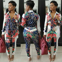 Sexy Sweat Suits Two Piece Sets Tracksuit Women Casual Long Sleeve Autumn Print T Shirt Tops