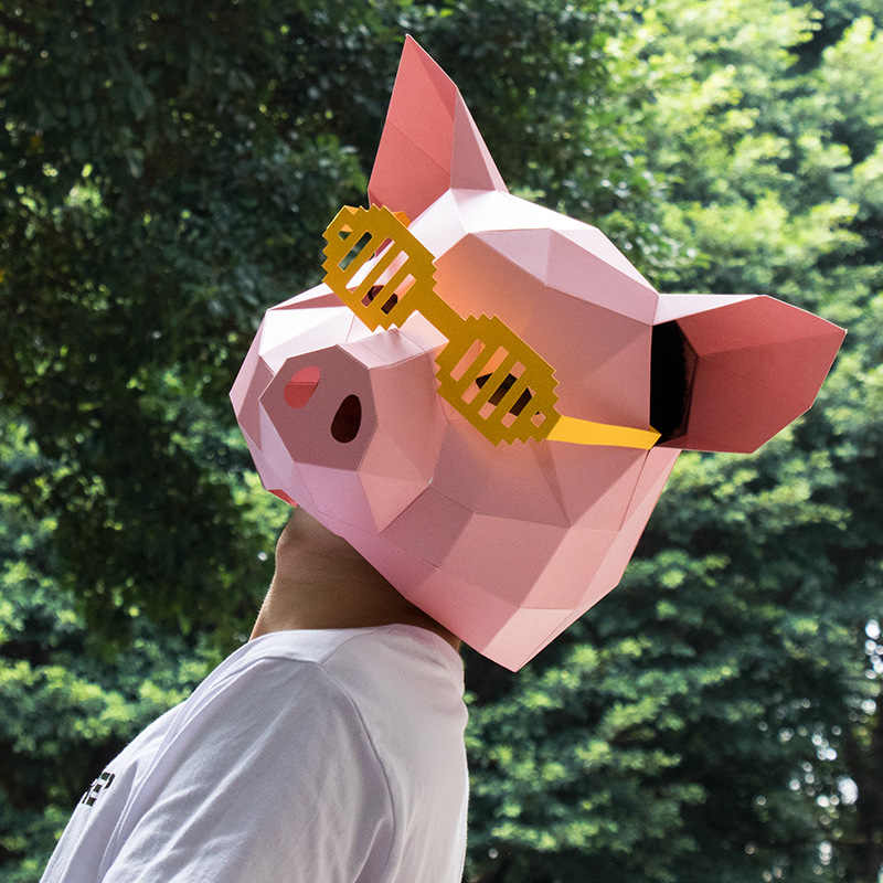 Cosplay Costume Animal Mask DIY Party Tricky Funny Mask King of Ghost Head  Face Adult cardboard Breathable Halloween Party Decor