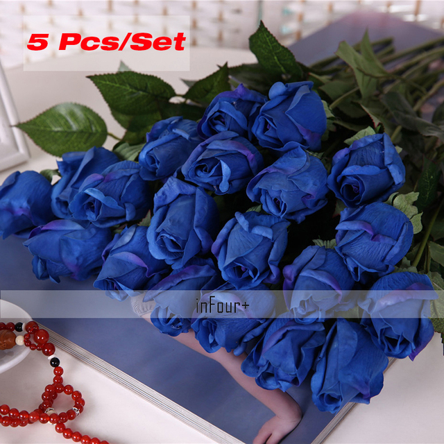 Blue rose vintage home decor flower real touch rose silk flowers blue rose vintage home decor flower real touch rose silk flowers artificial flowers for wedding decoration mightylinksfo