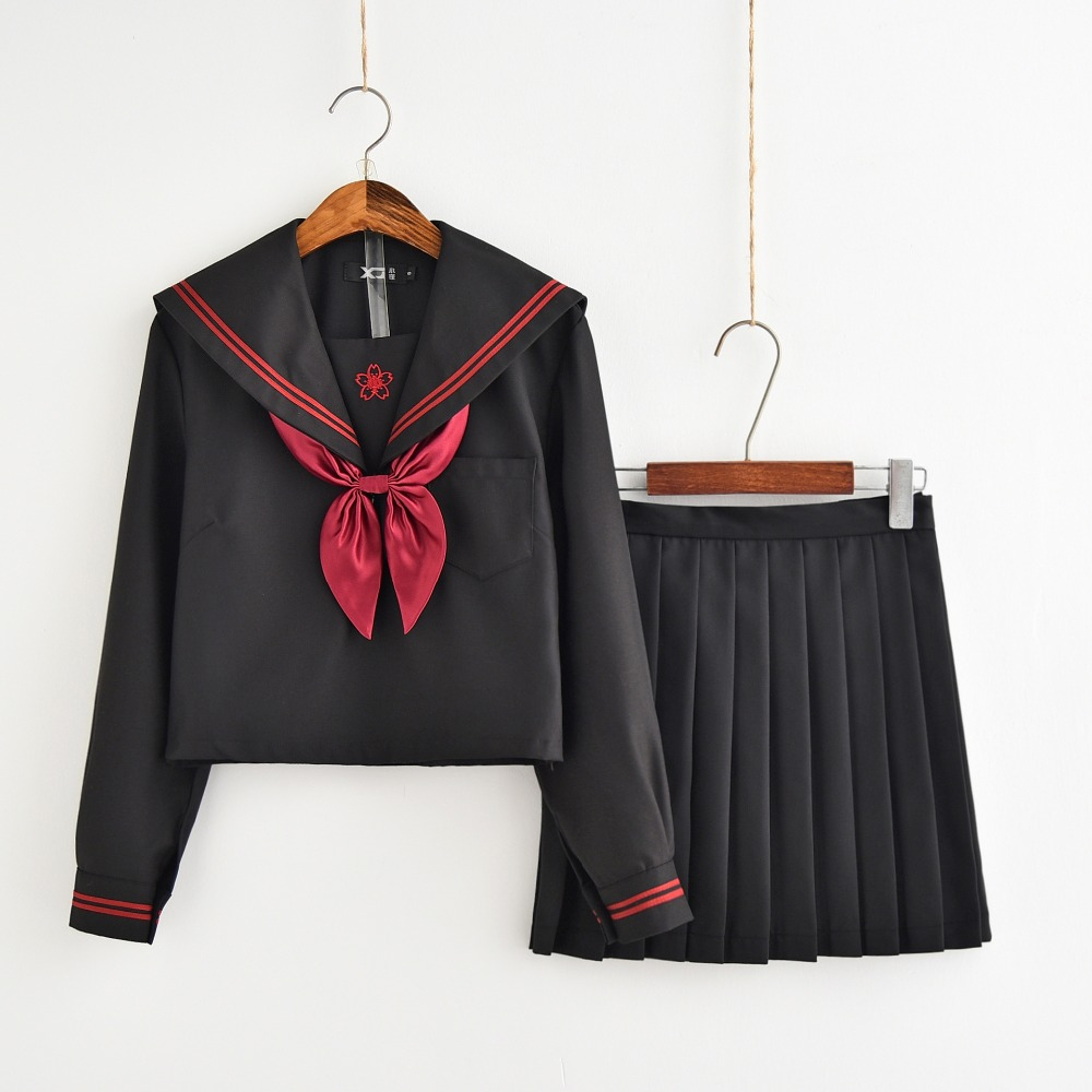 2019 Autumn Japanese School Uniforms For Girls Cute Long-length Sailor Tops Pleated Skirt Full Sets Cosplay JK Costume Series