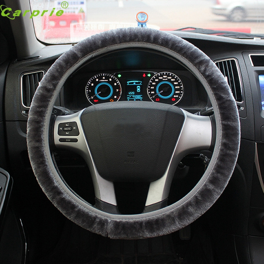 38cm Universal Stretching Soft Wool Plush Fuzzy Auto Car Steering Wheel Cover For Winter CARPRIE Plush Car-Styling Nov 24
