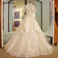 LS24770 Latest Long Train Wedding Dresses High Neck Bling Beaded Rhinestone Ball Gown Short Sleeves Wedding