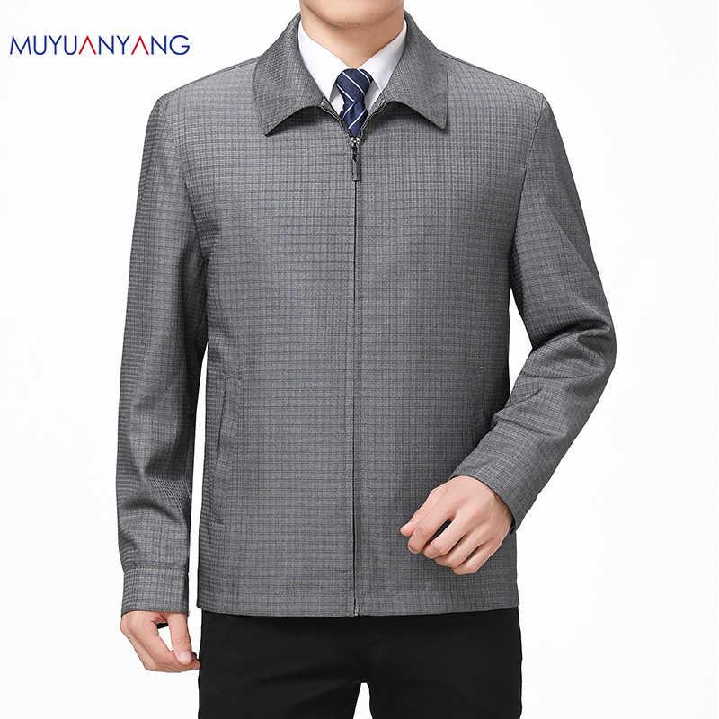 Mu юань ян скидка 50% Для мужчин's куртки весна и осень Повседневное Для мужчин клетчатые куртки и пальто отложной воротник на молнии пальто